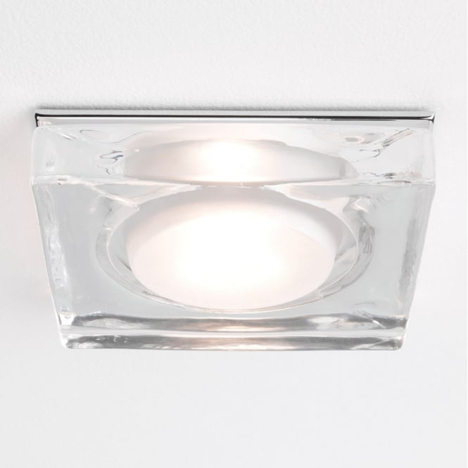 Astro Lighting Vancouver square batroom down light polished chrome clear glass