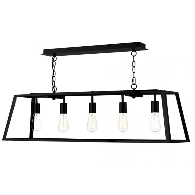 Dar Lighting Academy 5 Light Pendant Black