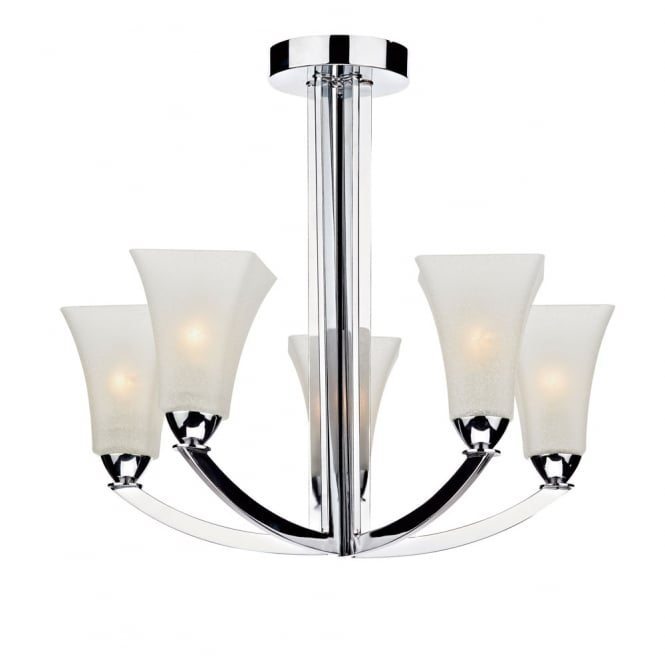 Dar Lighting Arlington 5 Light Semi Flush Polished Chrome