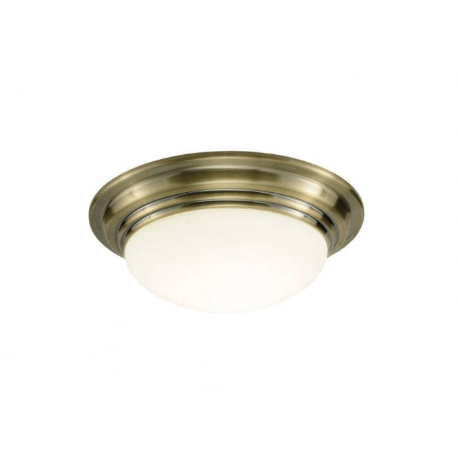Dar Lighting Barclay Small Flush IP44 Antique Brass