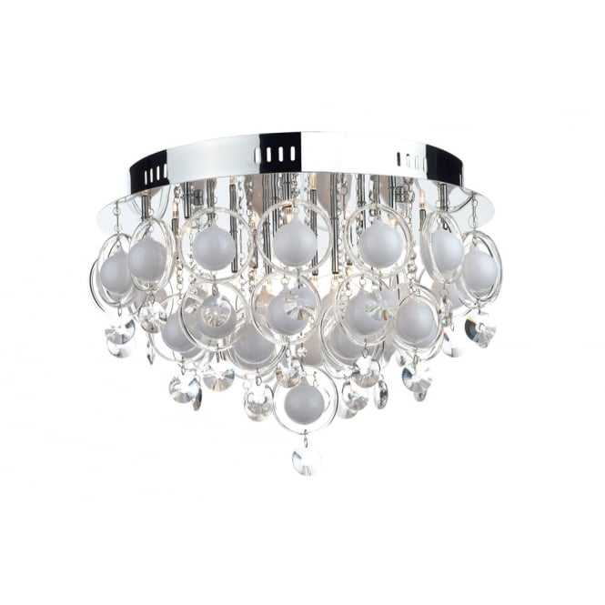 Dar Lighting Cloud 18 Light Flush G4 Crystal