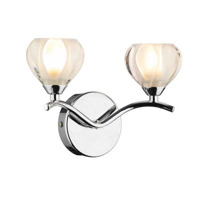 Dar Lighting Cynthia Double Wall Bracket Polished Chrome Switch