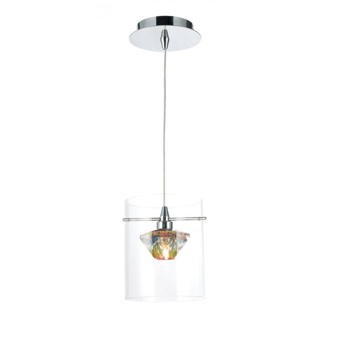 Dar Lighting Decade 1 Light Pendant Polished Chrome/Clear