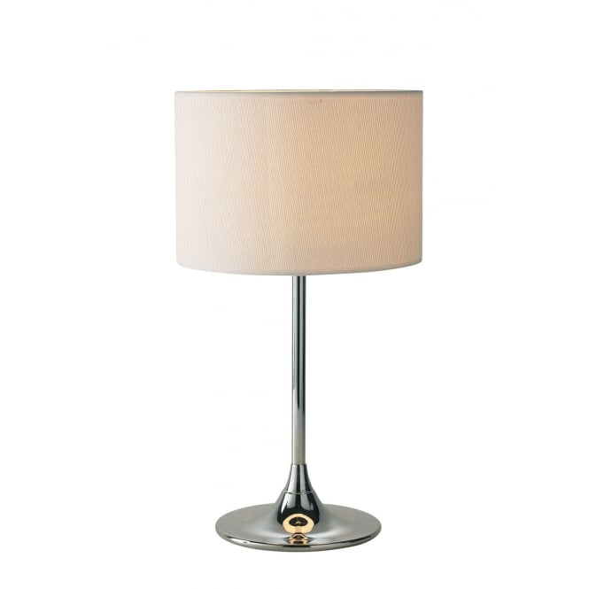 Dar Lighting Delta Table Lamp Chrome complete with Ivory Woven Shade
