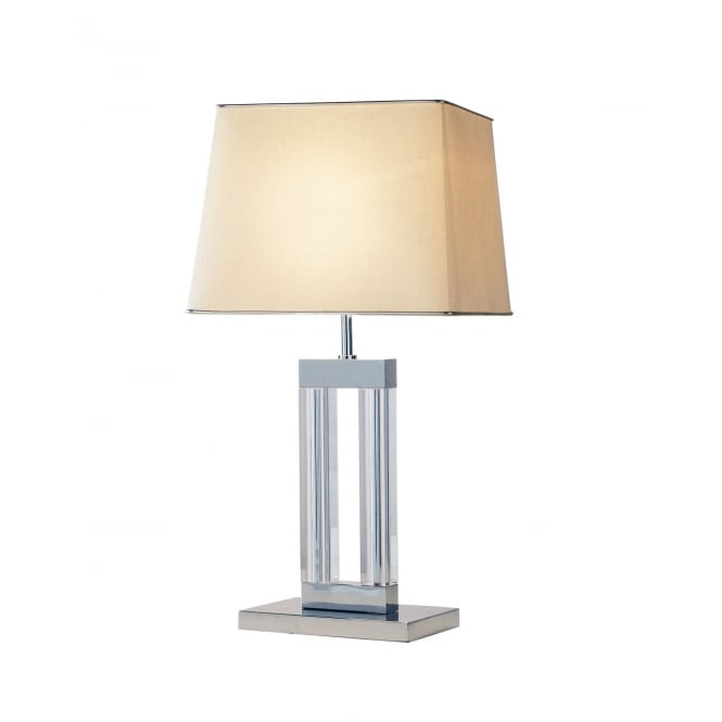 Dar Lighting Domain Table Lamp Quartz Glass complete with Shade DOM12
