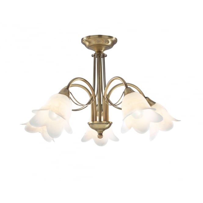 Dar Lighting Doublet 5 Light Semi Flush Antique Brass complete with Alabaster Glass