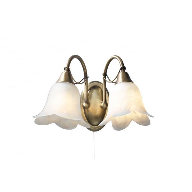 Dar Lighting Doublet Double Wall Bracket Antique Brass complete with Alabaster Glass