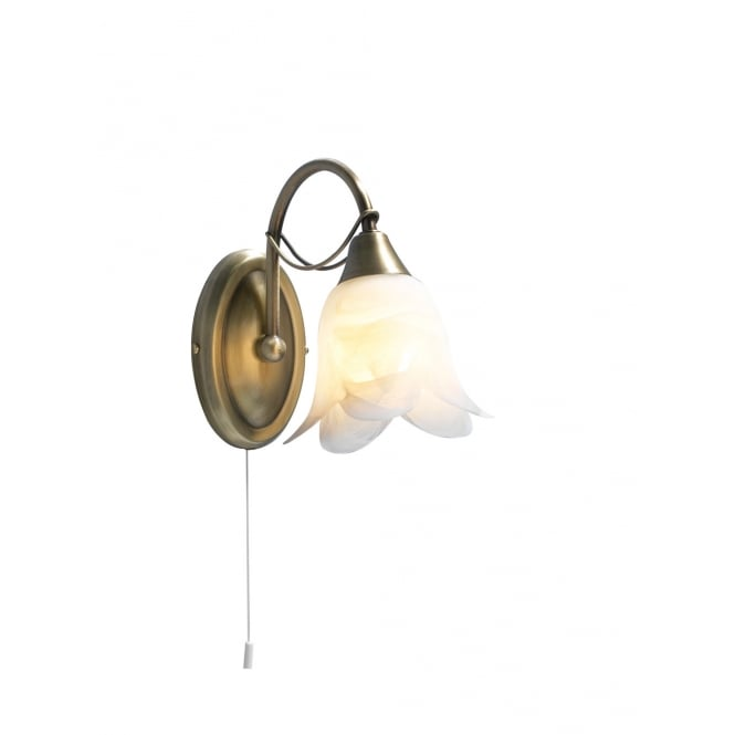 Dar Lighting Doublet Single Wall Bracket Antique Brass complete with Alabaster Glass