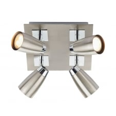 Loft 4 Light Low Energy Square Plate Satin Chrome/ Polished Chrome
