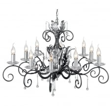 Amarilli 10 Light Chandelier with a Black/Silver finish