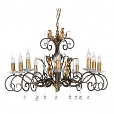 Amarilli 10 Light Chandelier with a Bronze/Gold finish