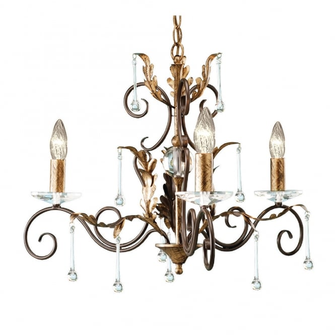 Elstead Lighting Amarilli 3 Light Chandelier with Bronze/Gold finish