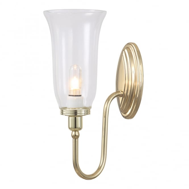 Elstead Lighting Bathroom Blake 2 wall light with a Polished Brass finish