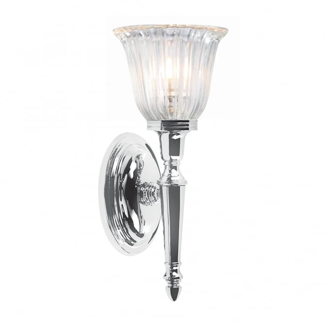 Elstead Lighting Bathroom Dryden1 wall light with a Polished Chrome finish