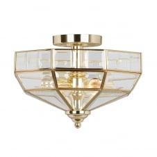 Old Park semi flush ceiling light in a Polished Brass finish