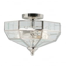 Old Park semi flush ceiling light in a Polished Nickel finish
