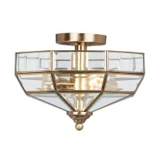 Old Park semi flush ceiling light in an Aged Bronze finish