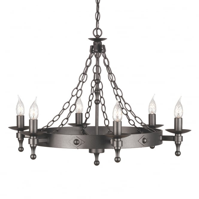 Elstead Lighting Warwick 6 light chandelier with a Graphite black finish