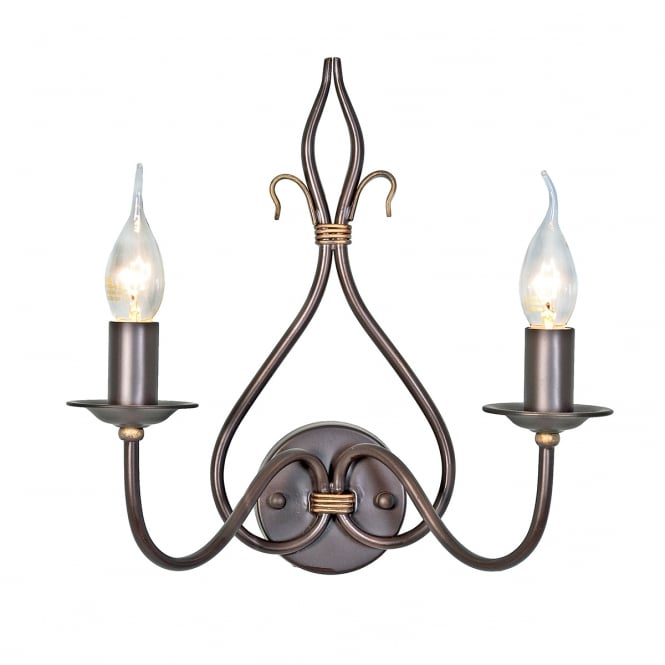 Elstead Lighting Windermere 2 Light Wall Light with a rust gold finish