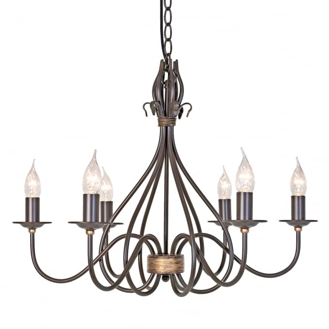 Elstead Lighting Windermere 6 Light Chandelier with a rust gold finish