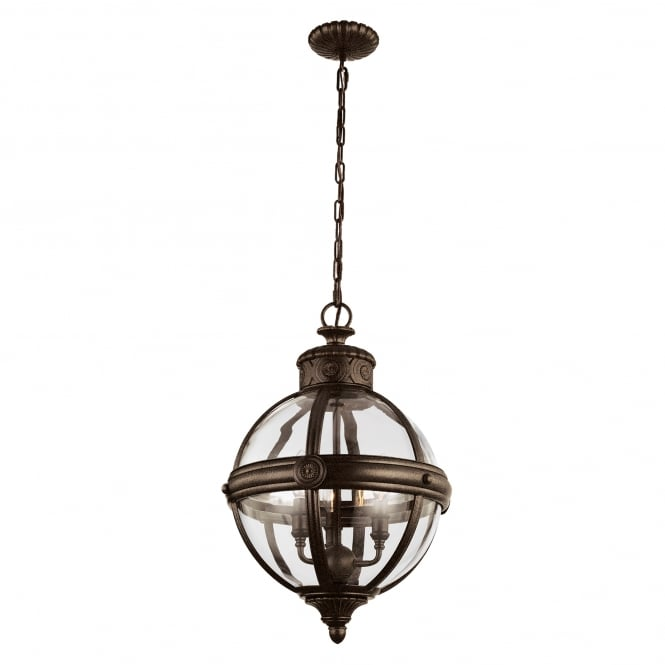 Feiss Adams 3 Light Pendant Chandelier with british bronze finish