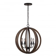 Allier 4 Light Pendant with weather oak wood and antique forged iron finish