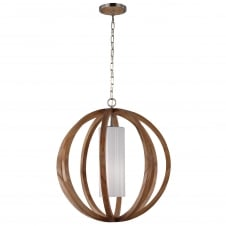 Allier Large Pendant with Light Wood and Brushed Steel finish