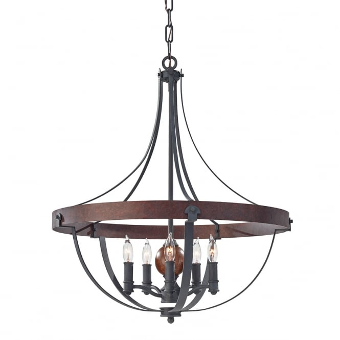 Feiss Alston 5 Light Chandelier with Charcoal Brick and Acorn finish