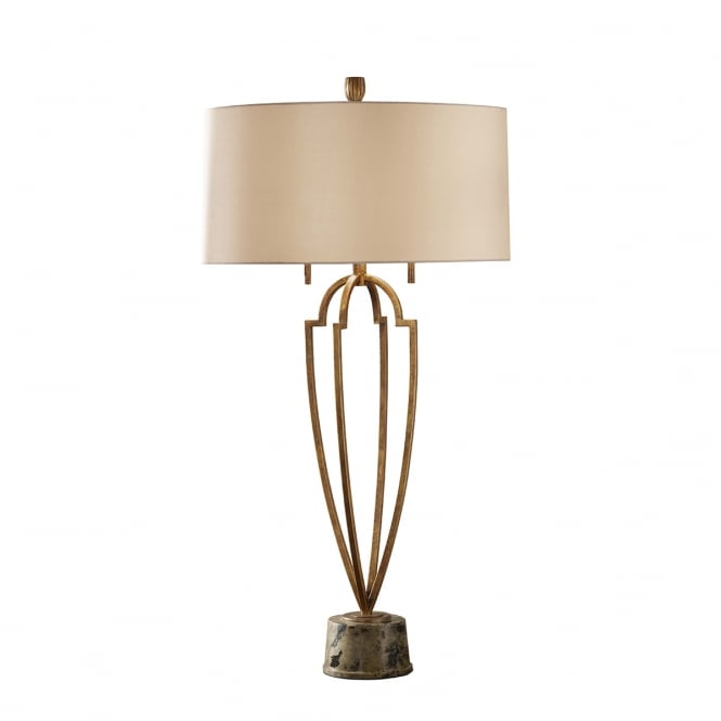 Feiss Ansari 2 Light Table Lamp with Firenze Gold and Brown Marble Base finish