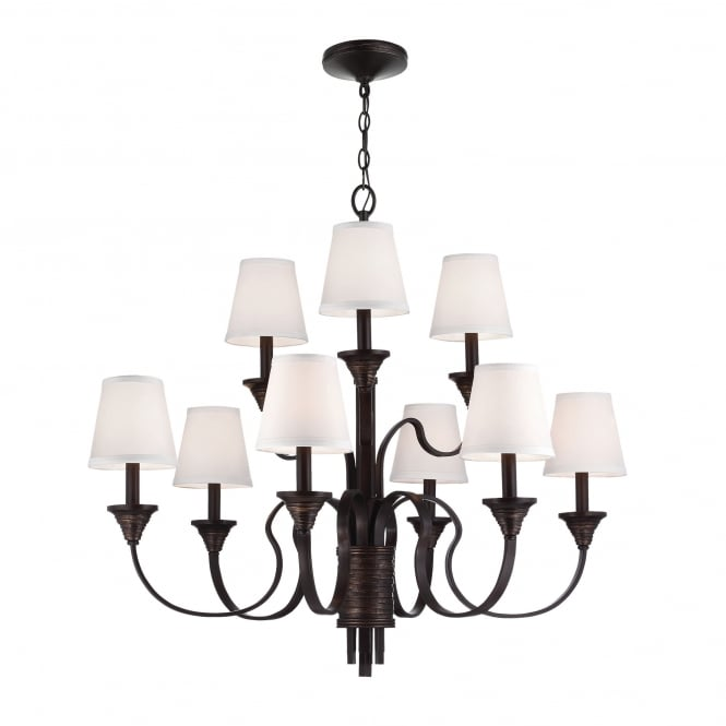 Feiss Arbor Creek 9 Light Chandelier with Arbor Bronze / Weathered Brass finish