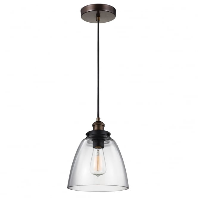 Feiss Baskin 1 Light Pendant In Painted Aged Brass / Dark Weathered Zinc Finish