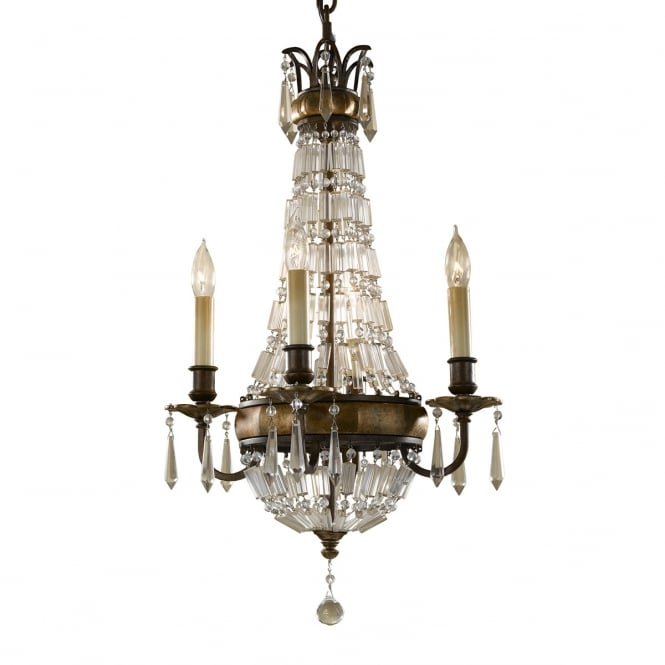 Feiss Bellini 4 Light Chandelie Oxidized Bronze and British Bronze finish