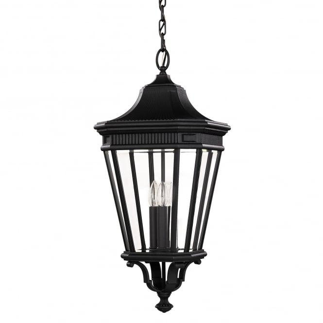 Feiss Cotswold Lane Large Chain Lantern with a black finish
