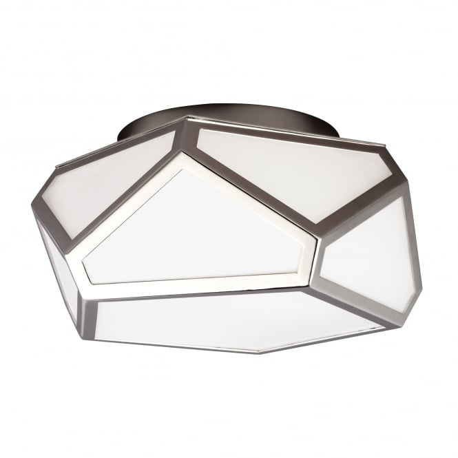 Feiss Diamond Flush Mounted light with polished nickel finish