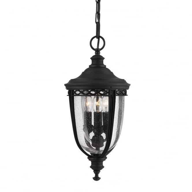 Feiss English Bridle 3 Light Medium Chain Lantern in Black finish