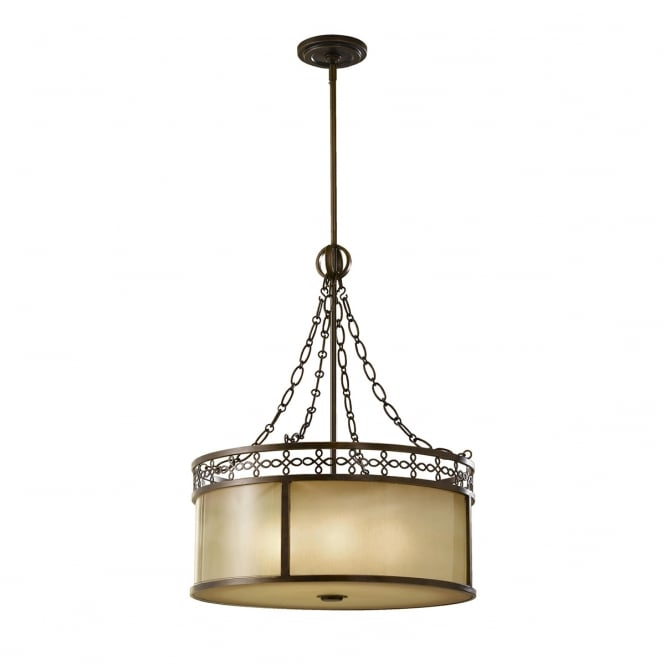 Feiss Justine 6 Light Chandelier With Aged Oak Glass