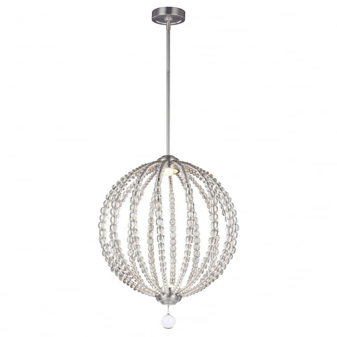 Feiss Oberlin 2 Light Medium Led Pendant In Satin Nickel Finish