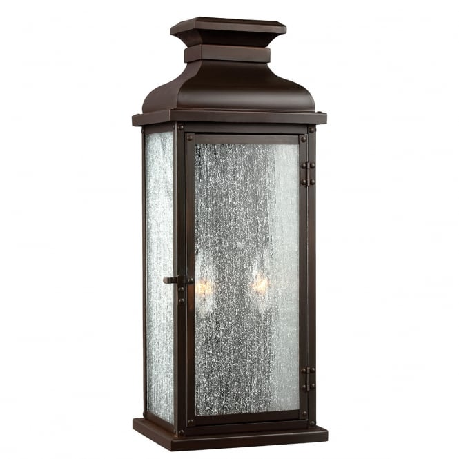 Feiss Pediment 2 Light Medium Wall Lantern In Dark Aged Copper Finish
