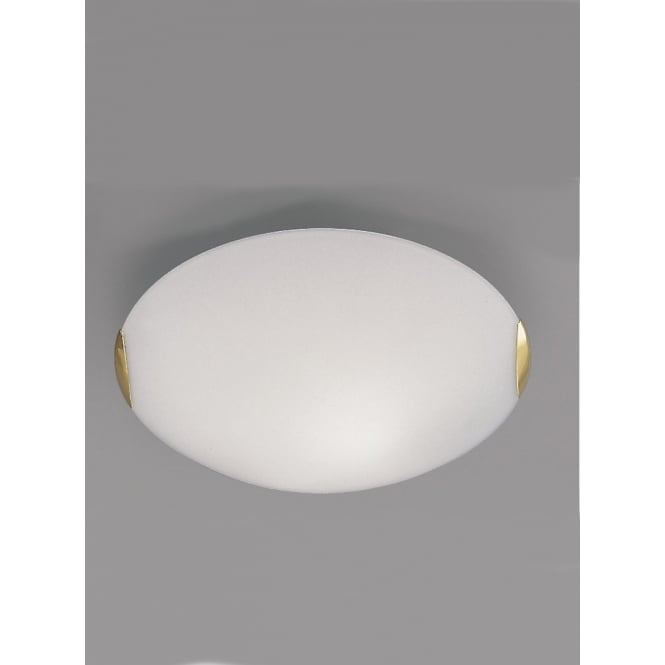 Franklite 400mm Circular Flush ceiling light glass and brass finish