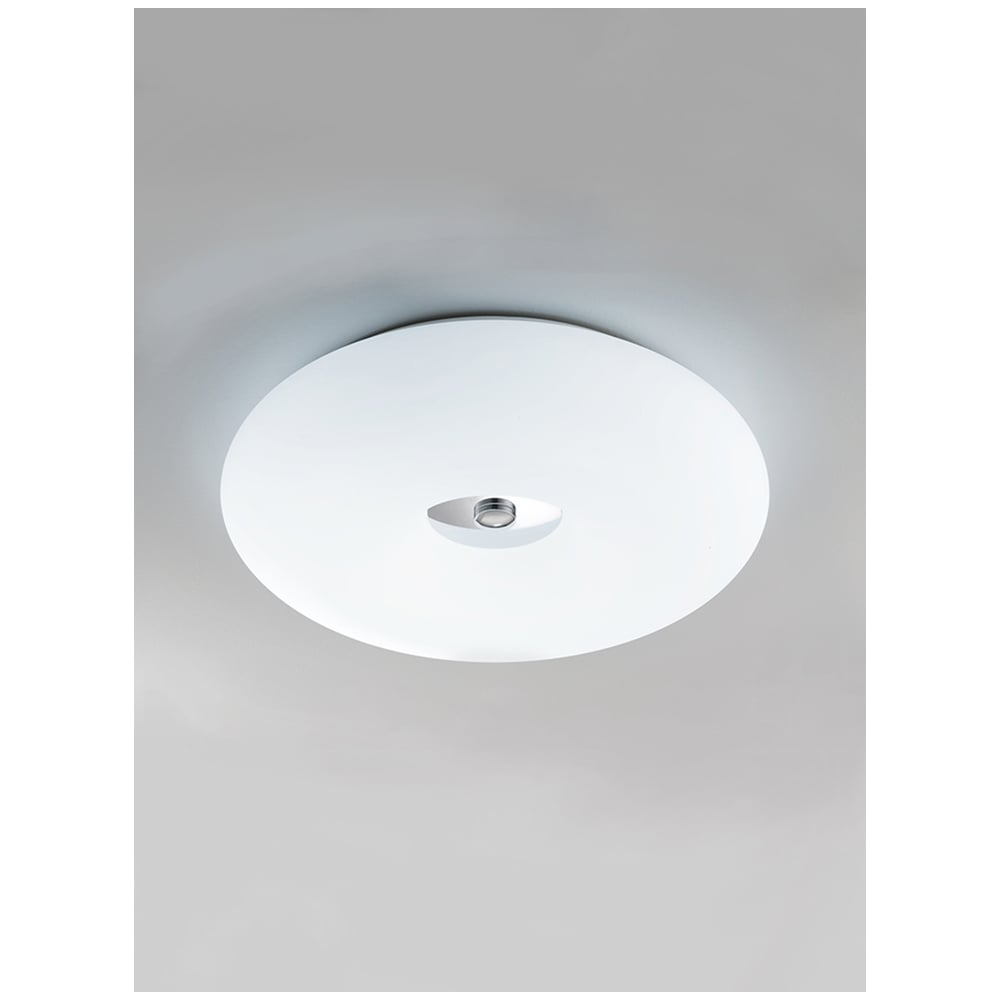 Franklite 500mm circular flush glass ceiling light polished chrome