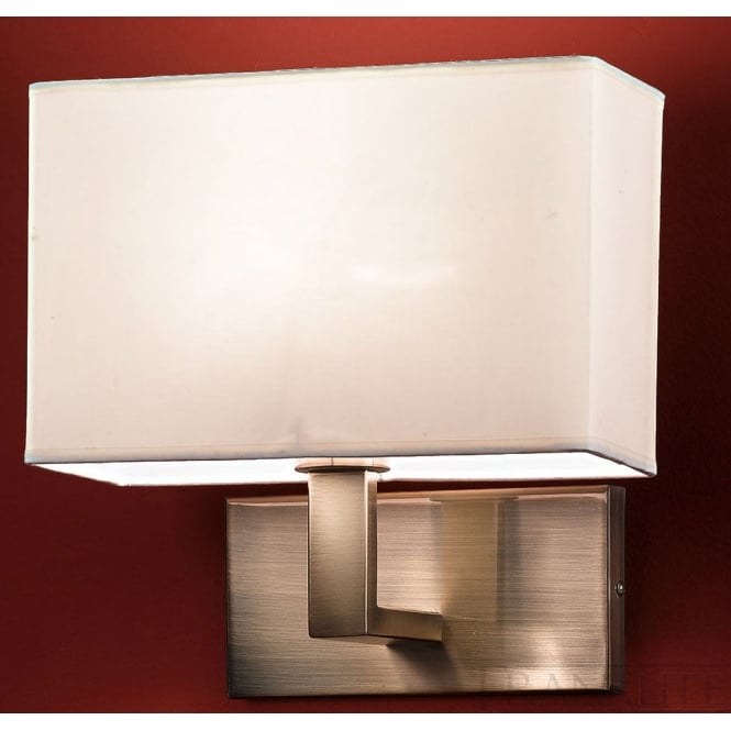 Franklite bronze finished wall light fabric rectangle shade
