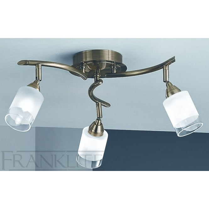 Franklite Campani bronze finish 3 adjustable glass ceiling light