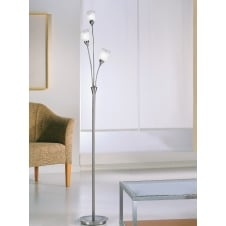 Campani chrome and satin nickel 3 glass floor stand