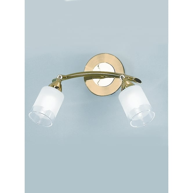 Franklite Campani polished and satin brass 2 glass shade wall light