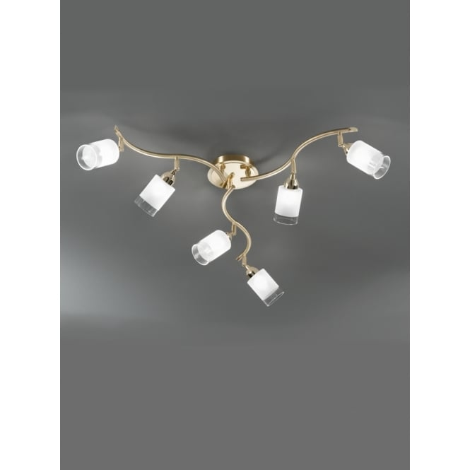 Franklite Campani polished and satin brass 6 glass ceiling light