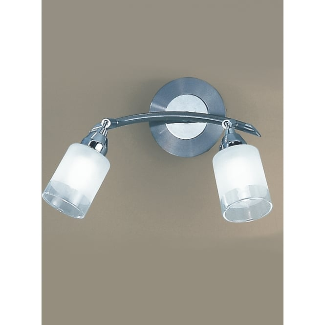Franklite Campani polished chrome satin nickel 2 glass wall light