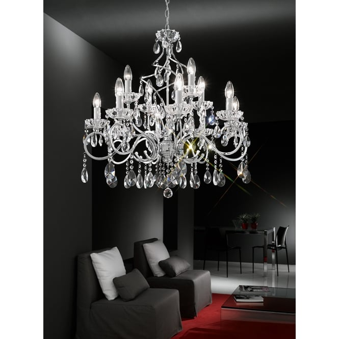 Franklite Chiffon chrome finish crystal 12 candle light chandelier