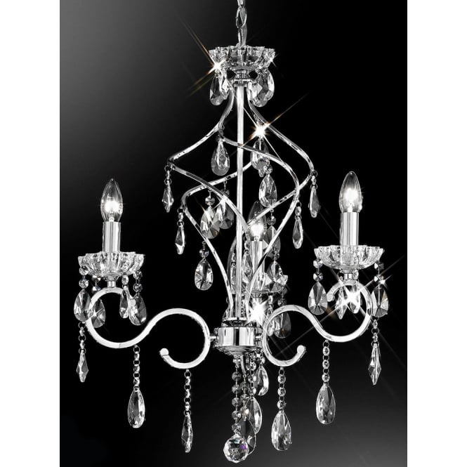 Franklite Chiffon chrome finish crystal 3 candle light chandelier