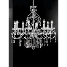 Chiffon chrome finish crystal 8 candle light chandelier