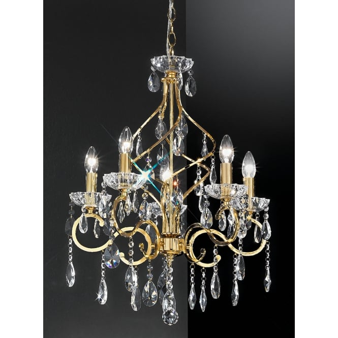 Franklite Chiffon crystal 5 light chandelier gold finish